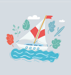 sail boat on white background vector image