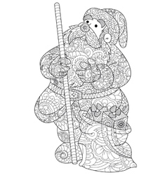 Santa Claus coloring for adults vector image