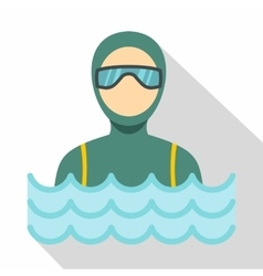 Scuba diver man in diving suit icon flat style vector