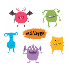 set cute different cartoon monsters elements vector image