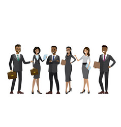 Set multicultural business people vector