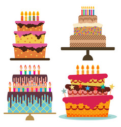 set of four sweet birthday cake vector image