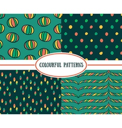 Set of seamless bright retro patterns vector image