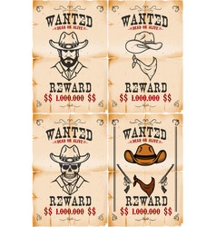 Set of wanted posters in wild west style vector