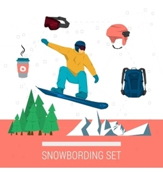 Set snowboarding clothes and elements vector