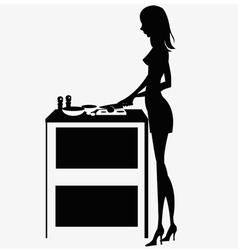 silhouette woman cooking dinner vector image