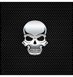 Silver skull on metal background vector