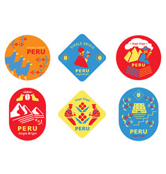 Single origin peru coffee label with local people vector