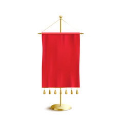 Small silk red pennant with golden hanging vector