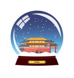 Snow globe city china beijing in snow globe vector