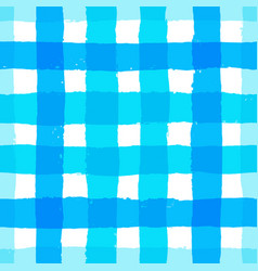 Stripe pattern gingham blue brush strokes vector