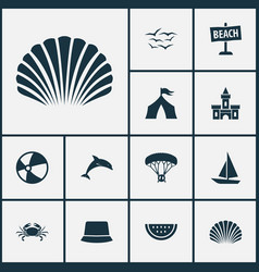 summer icons set with crab paraplane sand castle vector image
