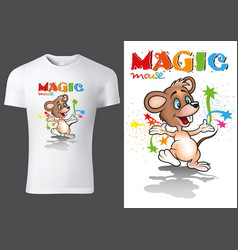 T-shirt design with cartoon mouse vector