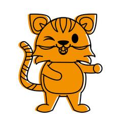 Tiger cute animal cartoon icon image vector