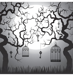 Trees with cages at night vector