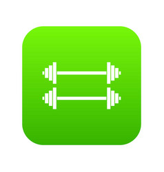 two barbells icon digital green vector image