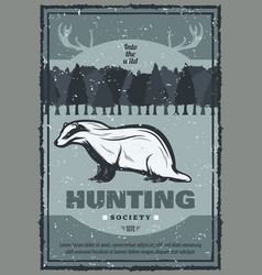 Vintage badger hunt poster vector