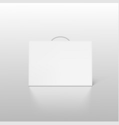 White carton box case with handle mockup isolated vector
