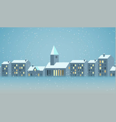 Winter city christmas landscape and christmas vector