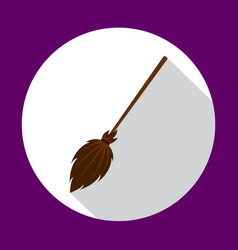 witch broom flat icon with long shadow vector image