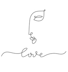woman face in one line drawing minimal art vector image