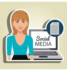 woman social media apps vector image