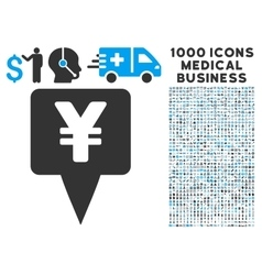 Yen Map Pointer Icon with 1000 Medical Business vector