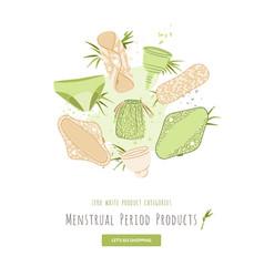 zero waste woman menstrual period cartoon vector image