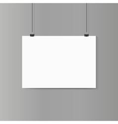 Empty horizontal white paper poster mockup on grey vector image