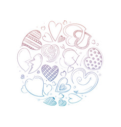 hand drawn hearts round concept vector image