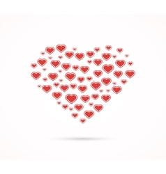Heart shape with love hearts vector image vector image