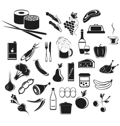 Icons food and beverages vector image