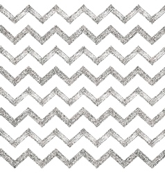 Seamless pattern of silver glitter zigzag chevron vector image