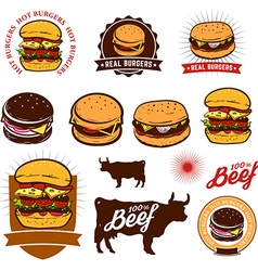 Set of the burgers labels vector image vector image