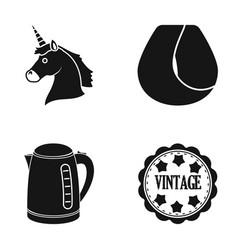 unicorn curl hair and other web icon in black vector image
