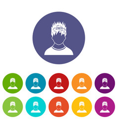 word stress in the head of man set icons vector image