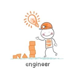 engineer looks at the childrens blocks and has an vector image vector image