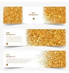 Golden Glitter banners set vector image
