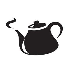 icon black kettle vector image vector image