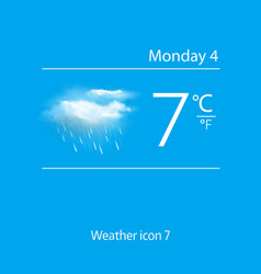 Realistic weather icon clouds with rain vector image