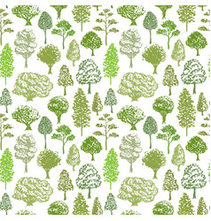 trees pattern sketch seamless green tree pattern vector image vector image