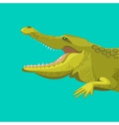 Dangerous green alligator is showing his teeth vector image vector image