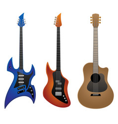 electric guitar bass guitar and acoustic guitar vector image