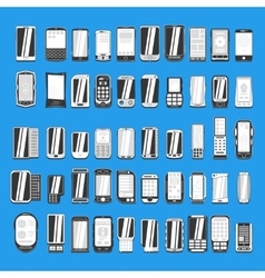 large set of different abstract mobile phones part vector image