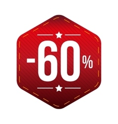Sale sixty percent off banner red patch vector image
