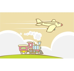 Train and Jet Plane vector image