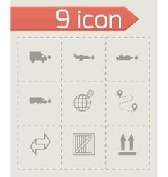 black logistic icons set vector image