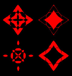 bloody ornaments of squares and rhombuses on a vector image vector image