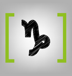 capricorn sign black vector image