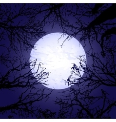 Halloween trees and moon vector image vector image
